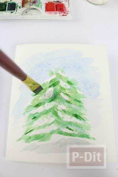 รูป 2 การ์ดคริสต์มาส สวยๆ ระบายสีน้ำ