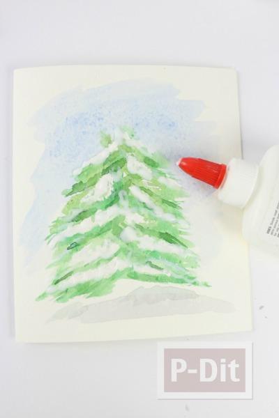 รูป 3 การ์ดคริสต์มาส สวยๆ ระบายสีน้ำ