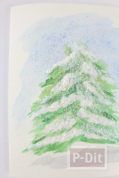 รูป 4 การ์ดคริสต์มาส สวยๆ ระบายสีน้ำ