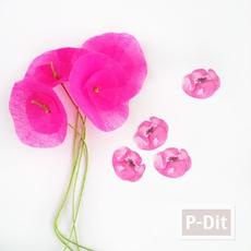 ดอกไม้กระดาษ ทำเองสีสด ประดับกล่องของขวัญ