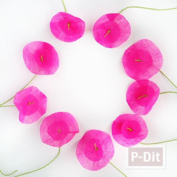 รูป 2 ดอกไม้กระดาษ ทำเองสีสด ประดับกล่องของขวัญ