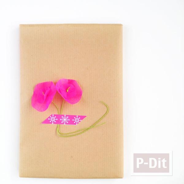 รูป 4 ดอกไม้กระดาษ ทำเองสีสด ประดับกล่องของขวัญ