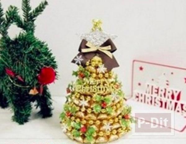 ตกแต่งของขวัญคริสต์มาสสวยๆ ด้วยต้นช็อคโกแลตสีทอง