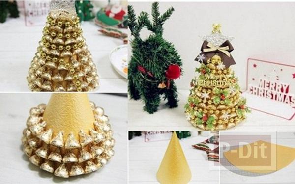รูป 4 ตกแต่งของขวัญคริสต์มาสสวยๆ ด้วยต้นช็อคโกแลตสีทอง