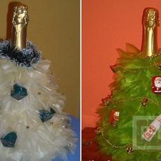 ห่อขวดไวน์สวยๆ ลายต้นคริสต์มาส