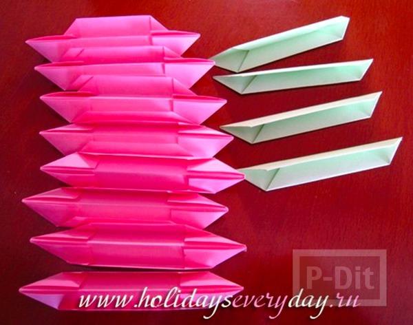 รูป 5 ดอกบัว พับกระดาษสีสวย