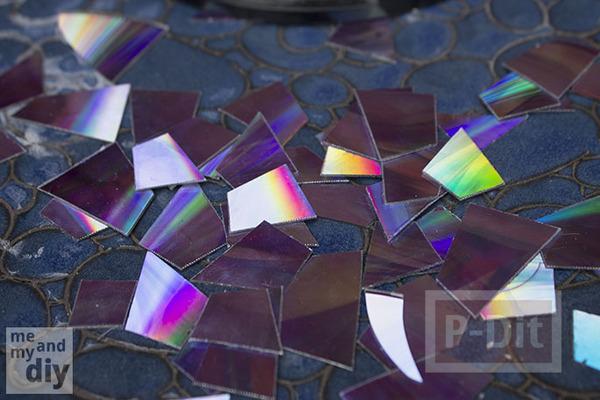 รูป 4 สอนตกแต่ง จานกระเบื้อง ประดับสวน จากแผ่น CD