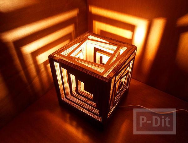 รูป 1 โคมไฟสวยๆ ทำจากกระดาษลัง