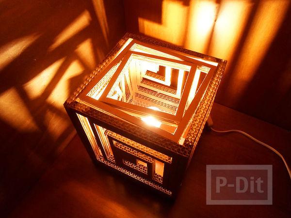 รูป 2 โคมไฟสวยๆ ทำจากกระดาษลัง