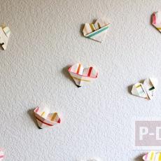 พับกระดาษรูปหัวใจ ส่งความสุข