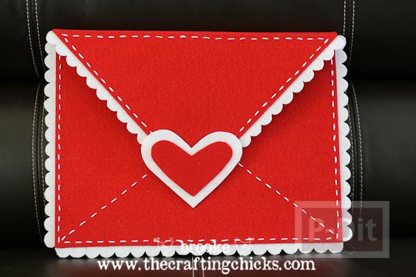 สอนทำซองจดหมาย ผ้าสักกะหลาด ประดับหัวใจ