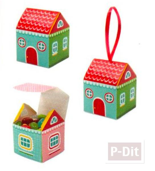 กล่องเค้กบ้านน่ารัก พับเองสีสดใส