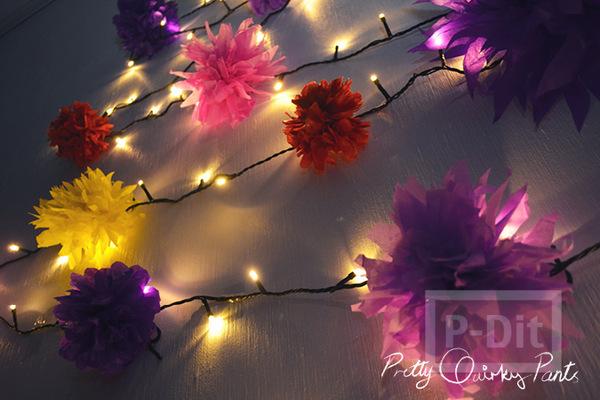 ทำดอกไม้ ประดับไฟกระพริบ จากกระดาษสีสด