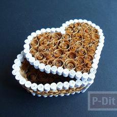 กล่องรูปหัวใจ ทำจากถุงกระดาษเก่าๆ สีน้ำตาลและขาว