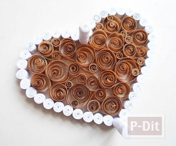 รูป 4 กล่องรูปหัวใจ ทำจากถุงกระดาษเก่าๆ สีน้ำตาลและขาว