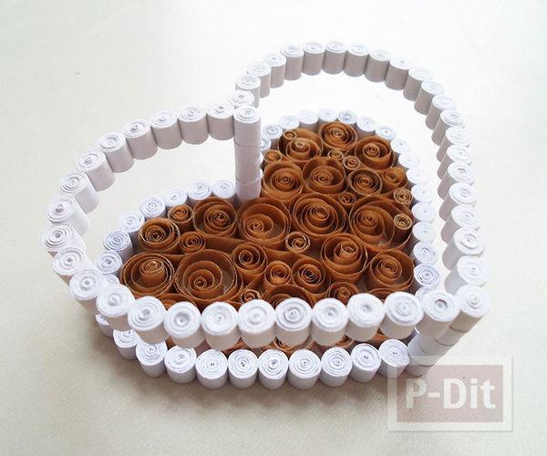 รูป 5 กล่องรูปหัวใจ ทำจากถุงกระดาษเก่าๆ สีน้ำตาลและขาว