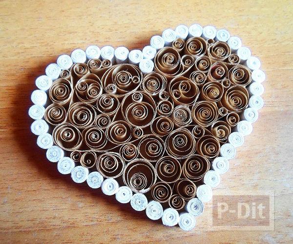 รูป 6 กล่องรูปหัวใจ ทำจากถุงกระดาษเก่าๆ สีน้ำตาลและขาว