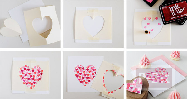 รูป 2 การ์ดวาเลนไทน์ ปั้มรูปหัวใจ น่ารักๆ