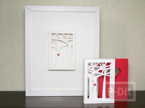 รูป 7 การ์ดวาเลนไทน์ กล่องสีแดงสด ด้านในรูปต้นไม้