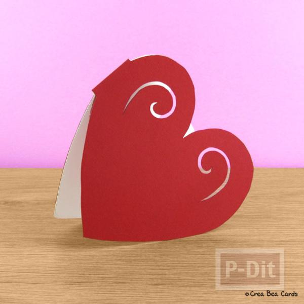 รูป 1 ตัดการ์ดเป็นรูปหัวใจ ส่งความรักวันวาเลนไทน์
