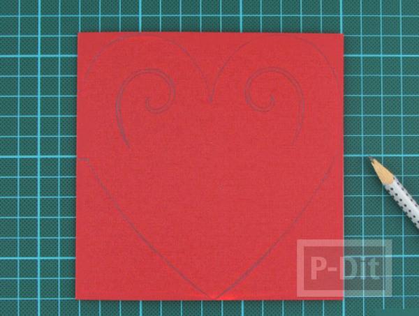 รูป 4 ตัดการ์ดเป็นรูปหัวใจ ส่งความรักวันวาเลนไทน์