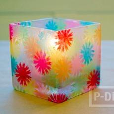 แก้วเทียน ตกแต่งลายสวย ด้วยกระดาษย่น