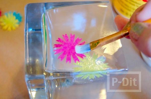 รูป 4 แก้วเทียน ตกแต่งลายสวย ด้วยกระดาษย่น