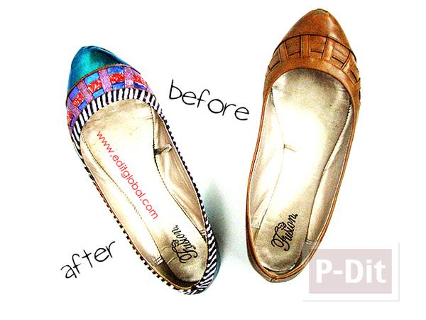 รองเท้าคู่เก่า ตกแต่งสีใหม่ด้วย สีทาเล็บ