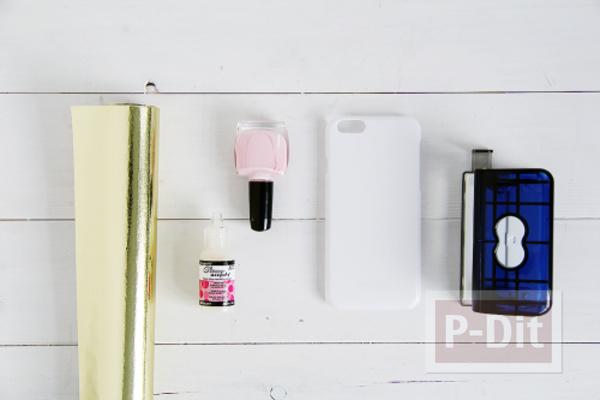 รูป 2 เคสไอโฟนตกแต่งลายสวย ด้วยสีทาเล็บ กระดาษทองสวยๆ