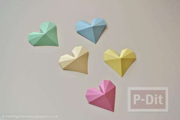 รูป 6 พับกระดาษรูปหัวใจ ประดับกล่อง