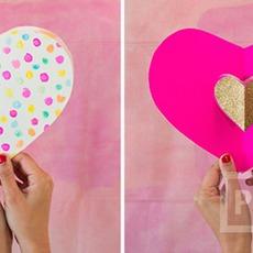 การ์ดป๊อปอัพรูปหัวใจ ทำเอง สีสวย