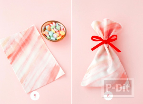 รูป 4 ถุงของขวัญสวยๆ ทำจากผ้า ผูกโบว์