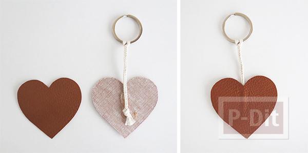 รูป 4 พวงกุญแจรูปหัวใจ ทำจากแผ่งหนัง