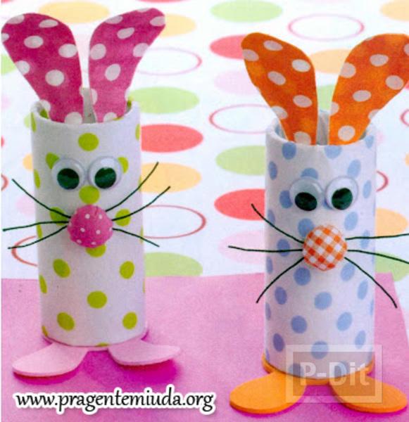 กระต่ายน้อย ทำจากแกนกระดาษทิชชู