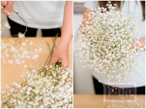 รูป 4 สอนตกแต่งช่อดอกไม้ ด้วยริบบิ้น
