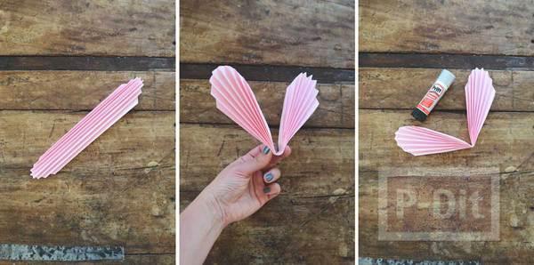 รูป 5 พับกระดาษรูปหัวใจ ร้อยเชือก