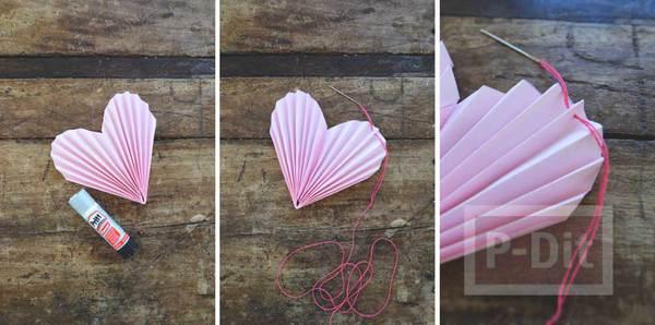 รูป 6 พับกระดาษรูปหัวใจ ร้อยเชือก