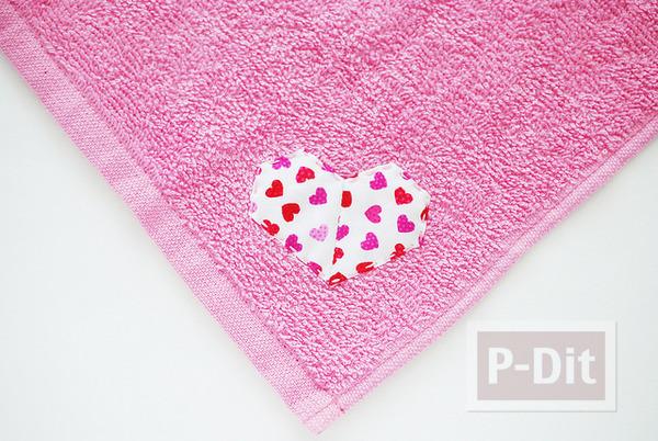 ผ้าขนหนูเย็บลายรูปหัวใจ รูปเล็กๆติดปลายผ้า