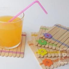 จานรองแก้ว ทำจากไม้ไอติม ประดับลายสวย