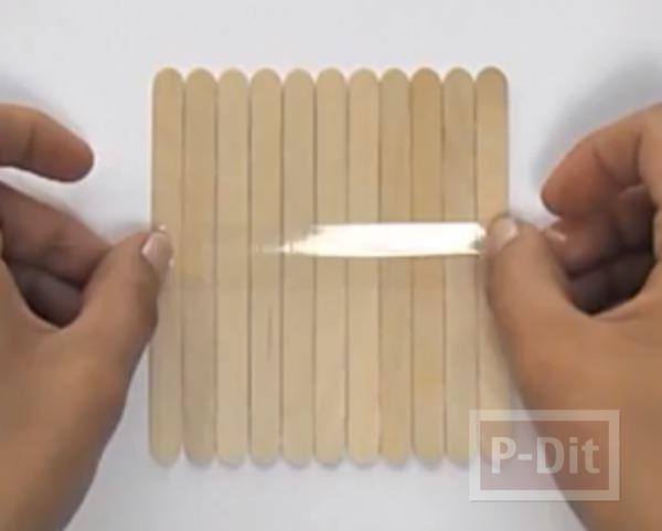 รูป 4 จานรองแก้ว ทำจากไม้ไอติม ประดับลายสวย