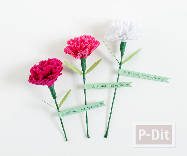 ดอกคาเนชั่น ทำจากกระดาษย่น
