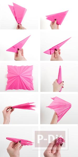 รูป 4 ดอกคาเนชั่น ทำจากกระดาษย่น