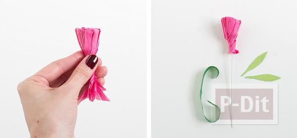 รูป 6 ดอกคาเนชั่น ทำจากกระดาษย่น