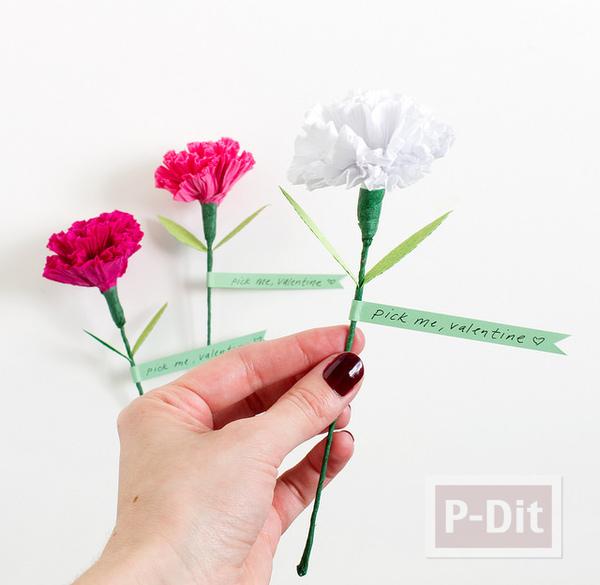 รูป 7 ดอกคาเนชั่น ทำจากกระดาษย่น