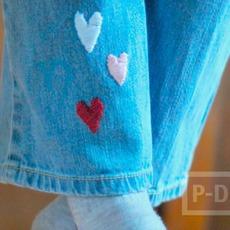 ขากางเกงยีนส์ ประดับลายหัวใจ ดวงเล็กๆ