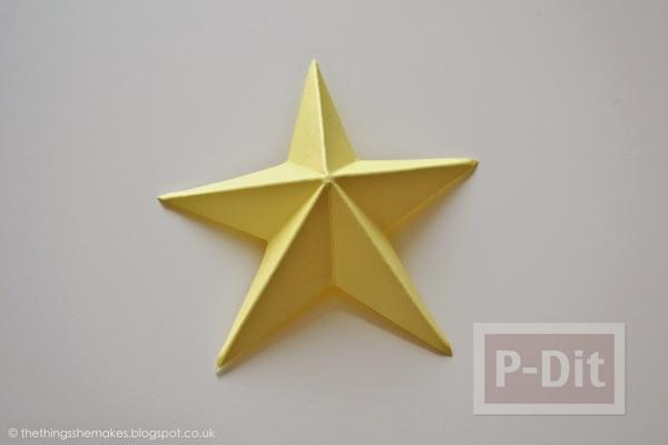 รูป 3 พับดาวกระดาษ ประดับบอร์ด