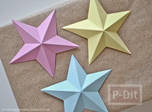 รูป 6 พับดาวกระดาษ ประดับบอร์ด