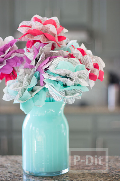 สอนทำดอกไม้กระดาษ กระดาษนิตยสาร สลับ กระดาษว่าว