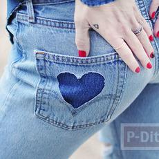 กางเกงยีนส์ ตกแต่งลายหัวใจ ที่กระเป๋ากางเกง