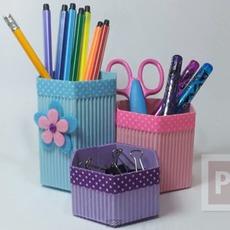 ทำที่ใส่ดินสอจากกระดาษลูกฟูก ทรงหกเหลี่ยม